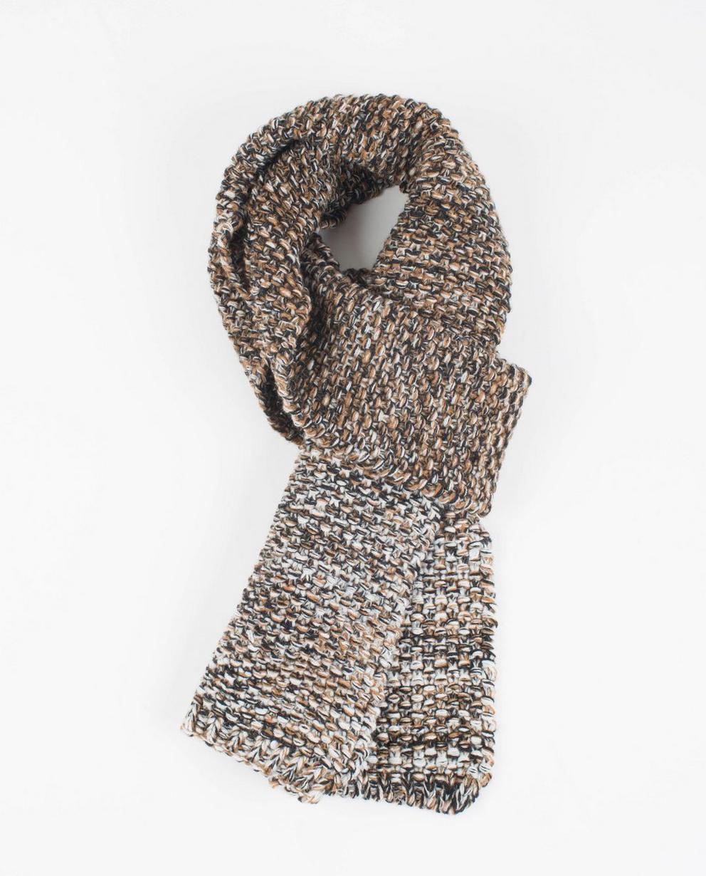 Écharpe brune tricotée - accents noirs et beiges - JBC